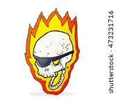 cartoon flaming pirate skull   Shutterstock . vector #473231716