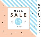 mega sale banner with geometric ... | Shutterstock .eps vector #473242732