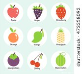 vector fruits icon set on blue... | Shutterstock .eps vector #473258092