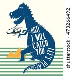 dinosaur illustration for kids... | Shutterstock .eps vector #473266492