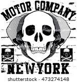 motorcycle skull tee graphic... | Shutterstock .eps vector #473274148