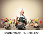 chef juggling with vegetables... | Shutterstock . vector #473288122