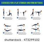 exercises for a flat stomach... | Shutterstock .eps vector #473299102