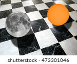 Small photo of Metaphysical composition with the sun and the moon on a checkered marble floor (collage made with my own photos with a telescope)
