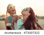 girls have fun with drinks at... | Shutterstock . vector #473307322