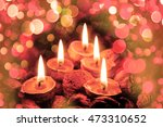 christmas candles in the dark... | Shutterstock . vector #473310652