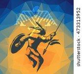 native american in war dance...   Shutterstock .eps vector #473313952