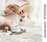 Woman Having Breakfast In Bed....