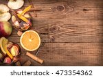 homemade  red wine sangria with ... | Shutterstock . vector #473354362
