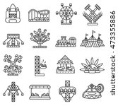 amusement park icons set. thin... | Shutterstock .eps vector #473355886