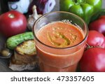 summer cold tomato gazpacho... | Shutterstock . vector #473357605