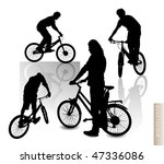 cyclists   silhouette vector... | Shutterstock .eps vector #47336086