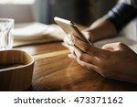 smart phone socialize chatting... | Shutterstock . vector #473371162