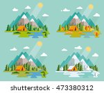 seasons landscape set. solitude ... | Shutterstock .eps vector #473380312