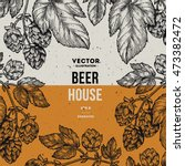 beer hop frame. engraved style...