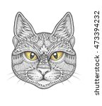 cat face with floral ornament... | Shutterstock . vector #473394232