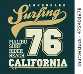 surfing t shirt graphic design. ... | Shutterstock . vector #473401678
