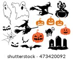 halloween themed characters and ... | Shutterstock . vector #473420092