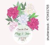 bouquet with two pink and white ... | Shutterstock . vector #473431705