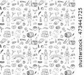 seamless pattern hand drawn... | Shutterstock .eps vector #473441725