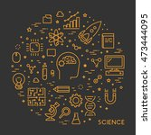 line web concept for science.... | Shutterstock .eps vector #473444095