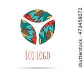 organic cosmetic mono line logo ... | Shutterstock .eps vector #473458072