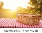empty wicker basket on the... | Shutterstock . vector #473474758