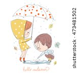boy and girl. love cards. theme ... | Shutterstock .eps vector #473481502