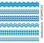 set of sea waves borders...   Shutterstock .eps vector #473499112
