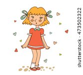 cute little girl looking... | Shutterstock .eps vector #473502322