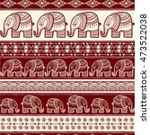 pattern with baby elephant made ... | Shutterstock .eps vector #473522038