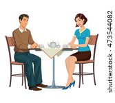 young couple drinking tea at...   Shutterstock . vector #473544082