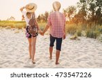 young hipster couple in love... | Shutterstock . vector #473547226