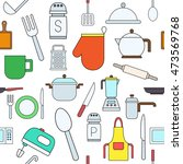 set of kitchen items colorful... | Shutterstock .eps vector #473569768