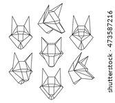 set of geometric polygonal wolf ... | Shutterstock .eps vector #473587216