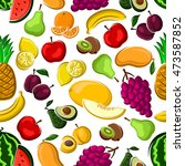 sweet fruits pattern on white... | Shutterstock .eps vector #473587852