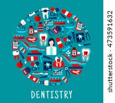 dentistry and dental care round ... | Shutterstock .eps vector #473591632