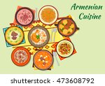armenian cuisine icon with... | Shutterstock .eps vector #473608792