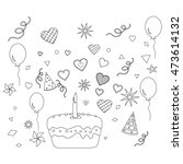 coloring book with birthday... | Shutterstock .eps vector #473614132