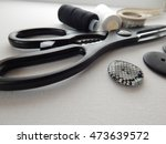 thread  buttons  scissors and... | Shutterstock . vector #473639572