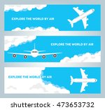 a set of 3 banners with a plane ...   Shutterstock .eps vector #473653732
