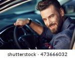 attractive elegant happy man in ... | Shutterstock . vector #473666032