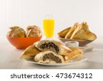 brazilian snack. meat esfiha on ... | Shutterstock . vector #473674312