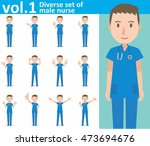 diverse set of male nurse on... | Shutterstock .eps vector #473694676