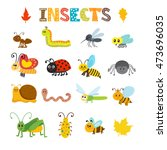 vector set of cartoon insects.... | Shutterstock .eps vector #473696035