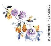 watercolor flower background.... | Shutterstock . vector #473720872