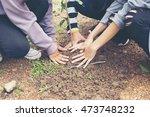 volunteers to plant trees | Shutterstock . vector #473748232