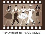 a chorus line of male and... | Shutterstock .eps vector #473748328