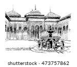 original ink drawing. patio de... | Shutterstock . vector #473757862