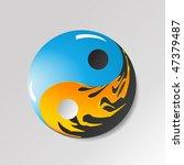 Yin Yang Symbol With Water And...